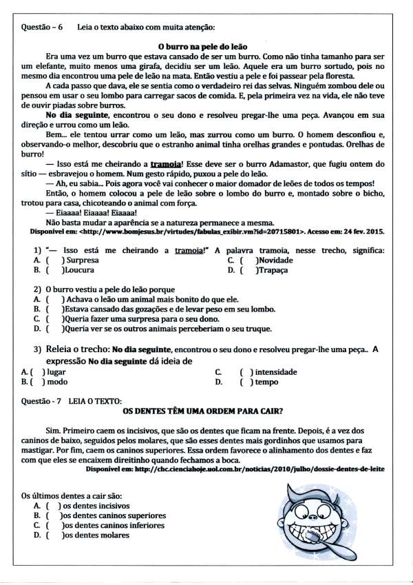 Avaliação de Língua Portuguesa - 3º ANO Ensino Fundamental com questões de interpretação - Parte 4