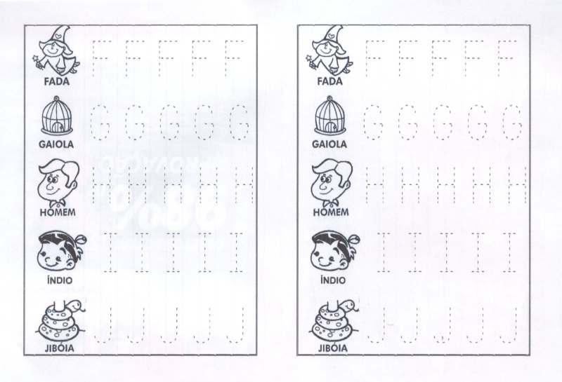 Letras pontilhadas para contornar de F a J