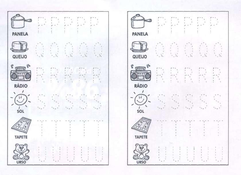 Letras pontilhadas para contornar de P a U