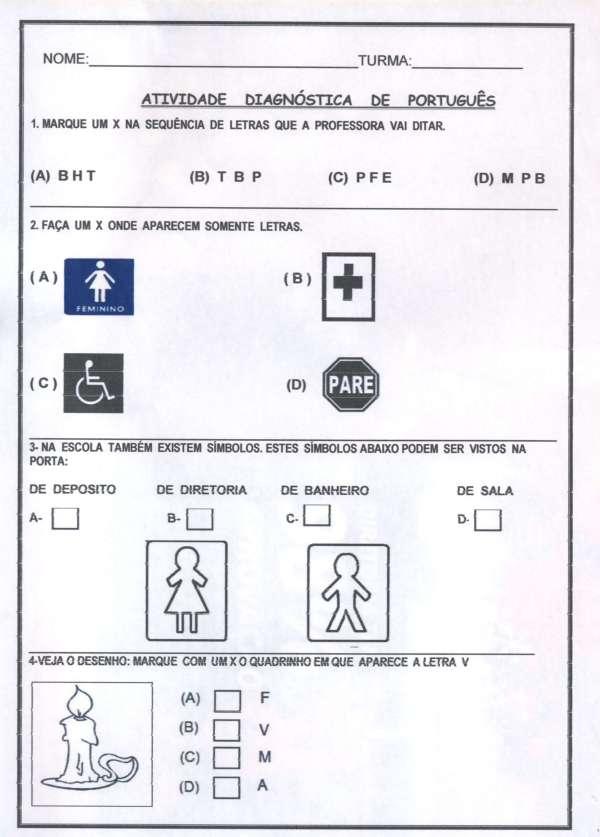 Avaliação Diagnóstica 1º Ano - Português Folha 1
