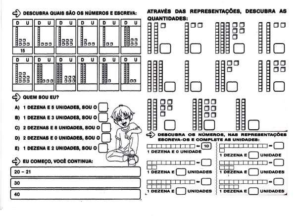 Dezenas e unidades. Descobrir números e representações de quantidades.