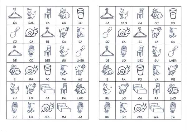 Desenhos com sílabas para montar-2- Folha 01