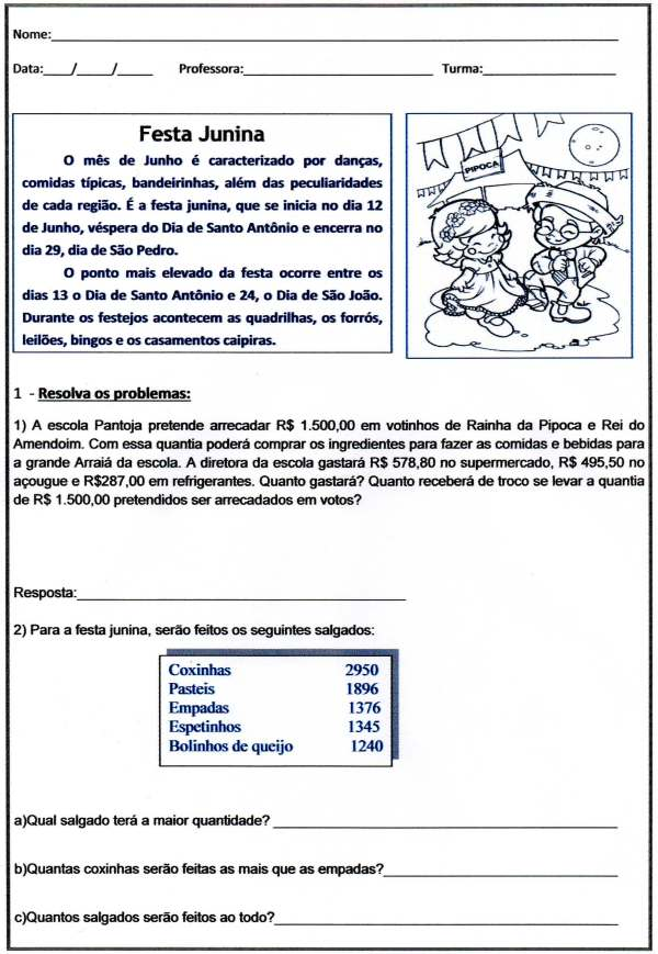 Festa Junina Problemas - Folha 01
