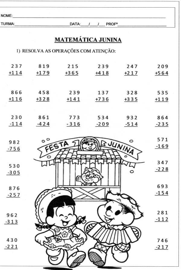 Festa Junina Matemática Junina. Matemática Junina- Folha 01