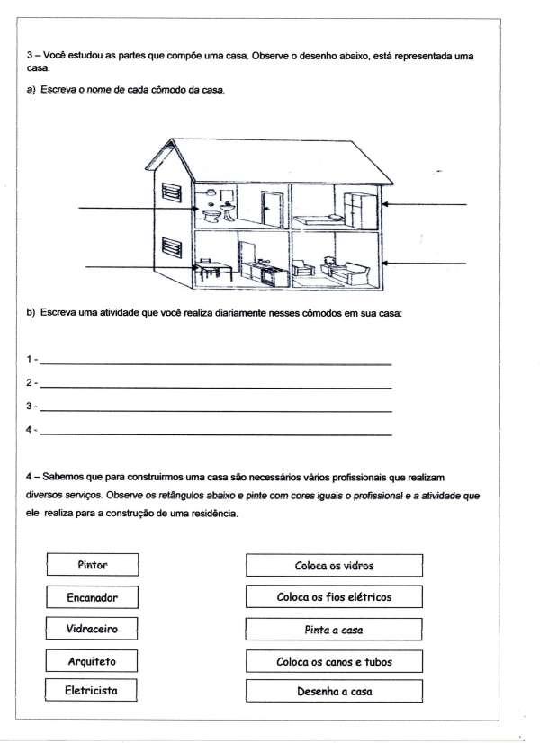Avaliação de Português Ensino Fundamental - Geografia - Folha 05 - Cômodos da Casa