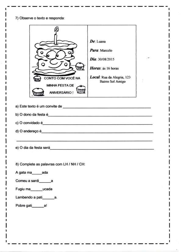 Avaliação de Português Ensino Fundamental - Parte 02 - Interpretação de Texto-Convite - Folha 03