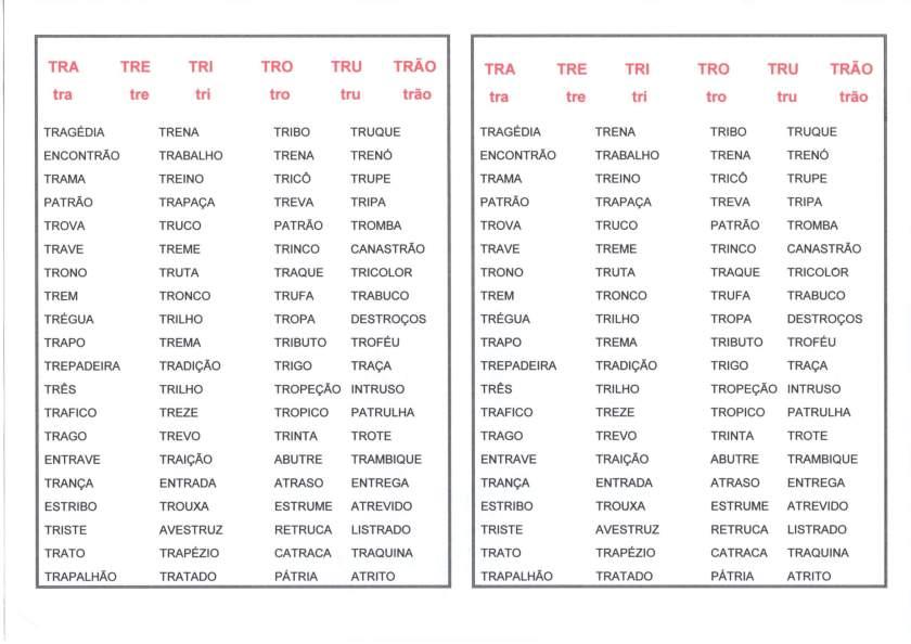 Listas de Palavras com TR-TRA-TRE-TRI