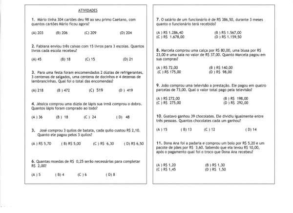 Atividade de Matemática-Múltipla Escolha