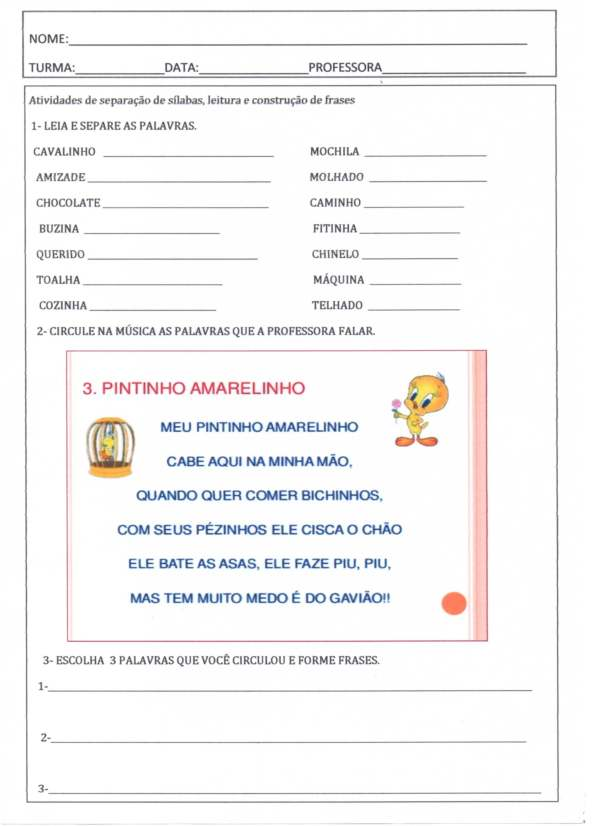 Separação de sílabas e construção de frases