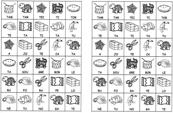 Desenhos com sílabas para montar T e U-Letra T