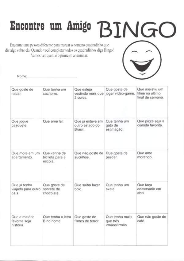 Bingo da Socialização-Encontre um amigo