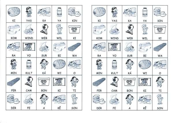 Desenhos com sílabas para montar K e Z-Letra K