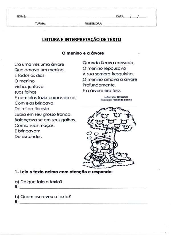 Leitura e interpretação de texto-O menino e a árvore 01