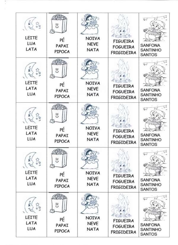 Festa Junina Leitura-Pinte o nome da figura-Folha 2