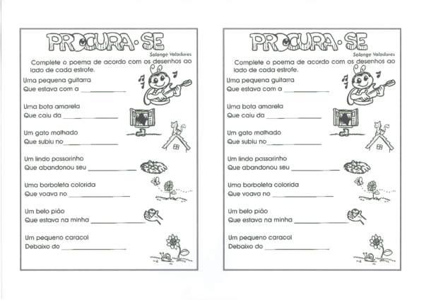 Atividades com Rimas-Complete o Poema