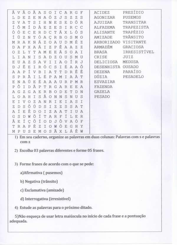 Diferenciando Letras S e Z-Frases afirmativas e negativas