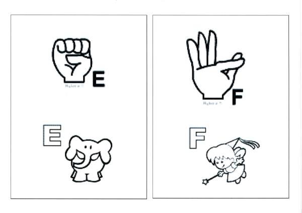 Alfabeto para sala com Libras-Parte 1-Letras E e F