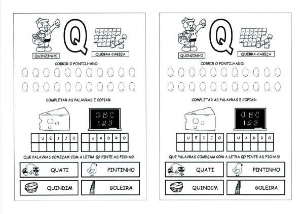 Alfabeto com as Letras Iniciais e Pontilhadas-Parte 4-Letra Q