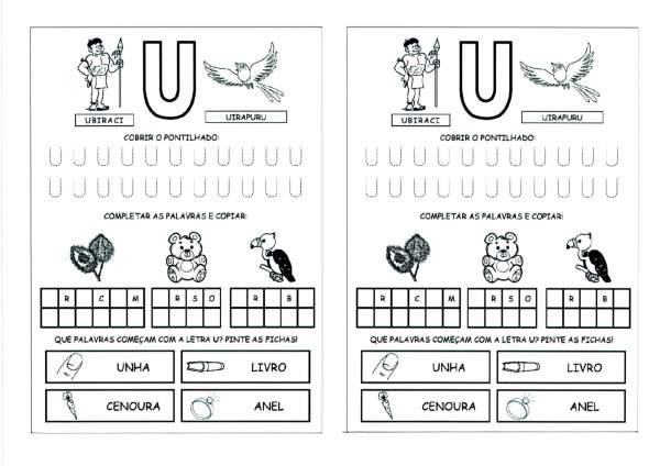Alfabeto com as Letras Iniciais e Pontilhadas-Parte 5-Letra U
