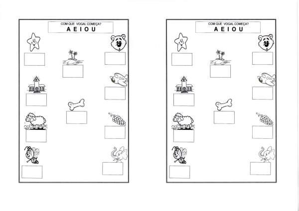 Atividades com vogais-Escrever as iniciais-Folha 1