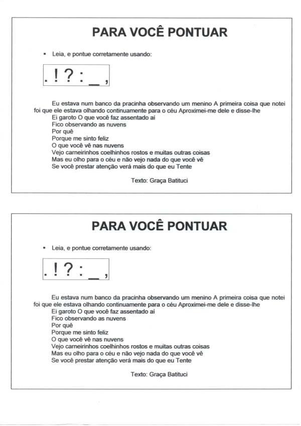 Pontuação-Texto para pontuar