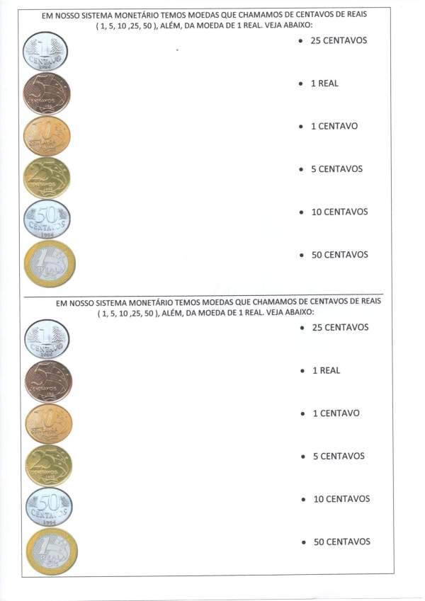 Sistema Monetário-Calcular e identificar Cédulas e Moedas-Folha 2