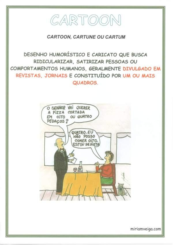 Cartaz para Sala de Aula Gêneros Textuais-Cartoon