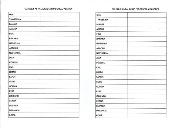 Ordem Alfabética-Lista para ordenar as palavras
