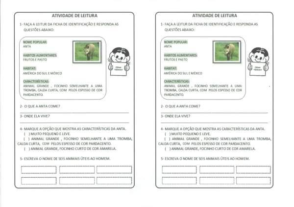 Leitura e Interpretação-Ficha de animal-Anta