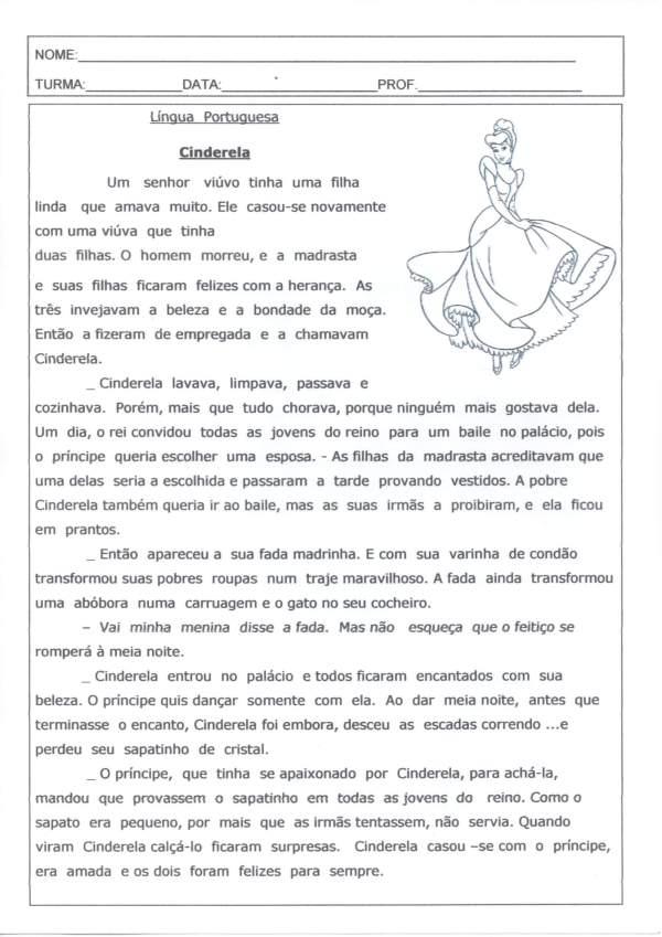Leitura e Interpretação de Texto-Cinderela-Folha 1