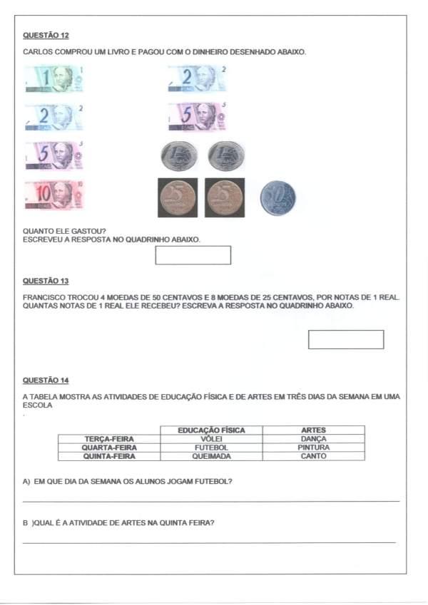 Avaliação Matemática-Gráficos Sistema Monetário Tabelas-Folha 2