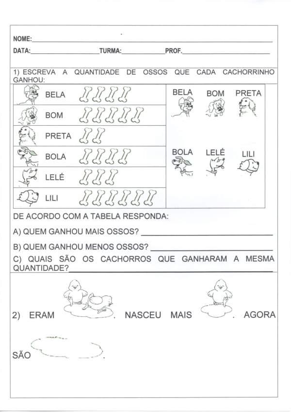Avaliação 1 ANO-Quantidade-Formas geométricas-Folha 1