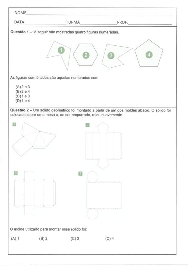 Avaliação Diagnóstica de Matemática 4 e 5 Ano-Parte 1-Folha 1