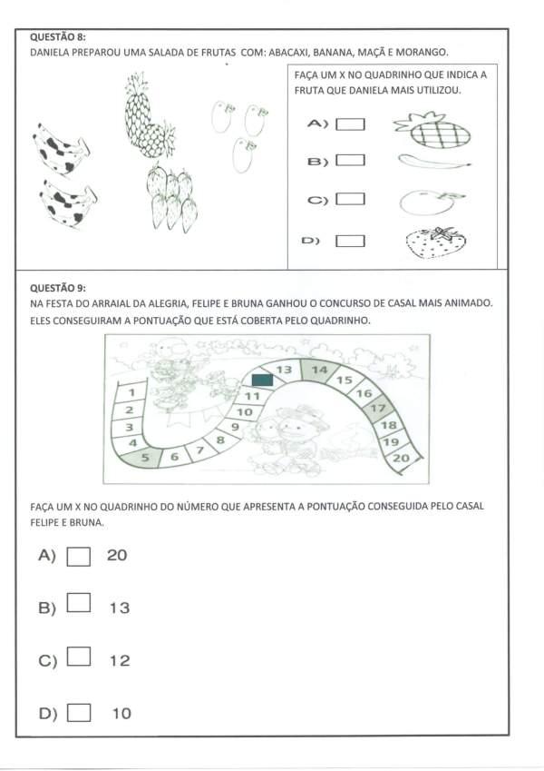 Avaliação Diagnóstica 2 e 3 Ano-Matemática-Parte 2-Folha 4