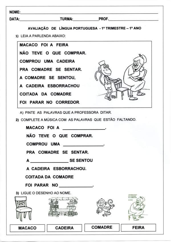 Avaliação de Língua Portuguesa 1 Ano-1 trimestre-Folha 1