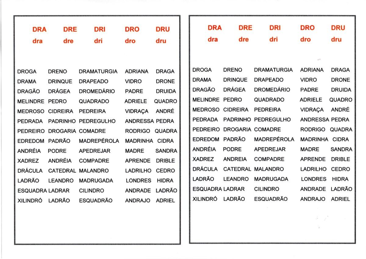 Dificuldades ortográficas-Dra Dre Dri Dro Dru Drão