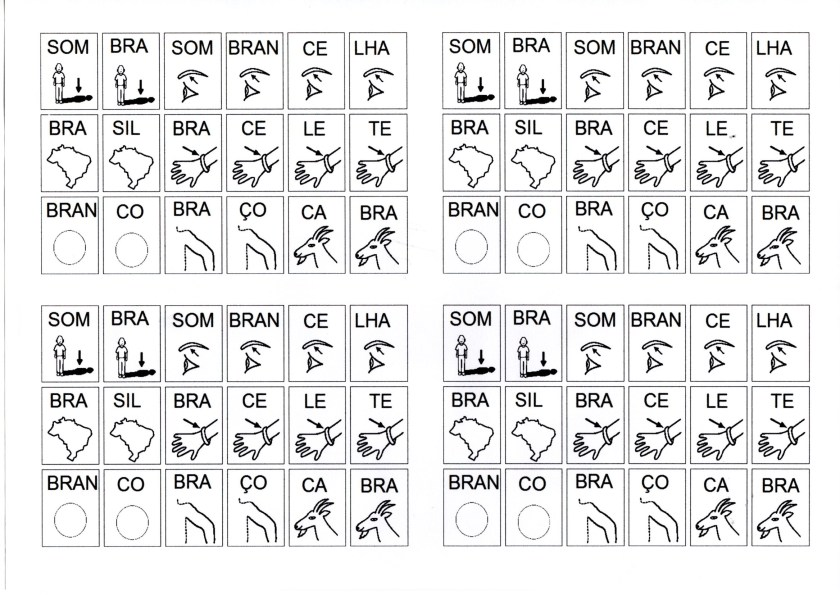 Dificuldades ortográficas-BRA Com figuras para montar palavras