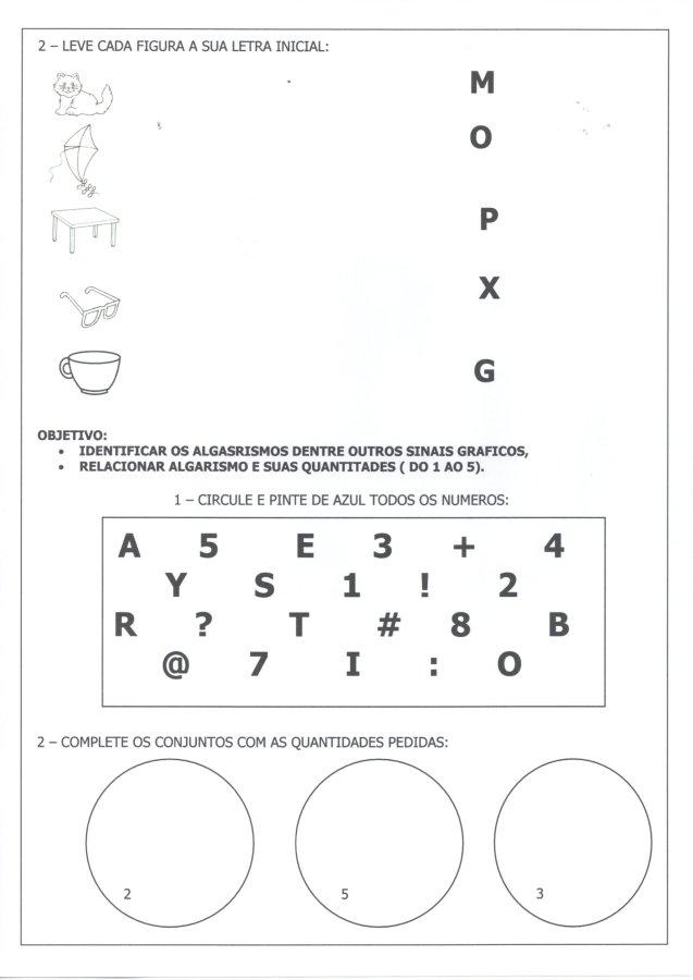 Avaliação Diagnóstica 1 Ano-Letras e números-Folha 2