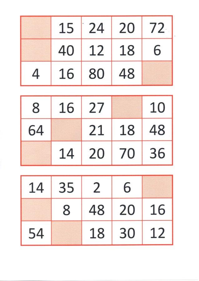 Bingo da Multiplicação-Cartelas e papéis para sorteio-Folha 7