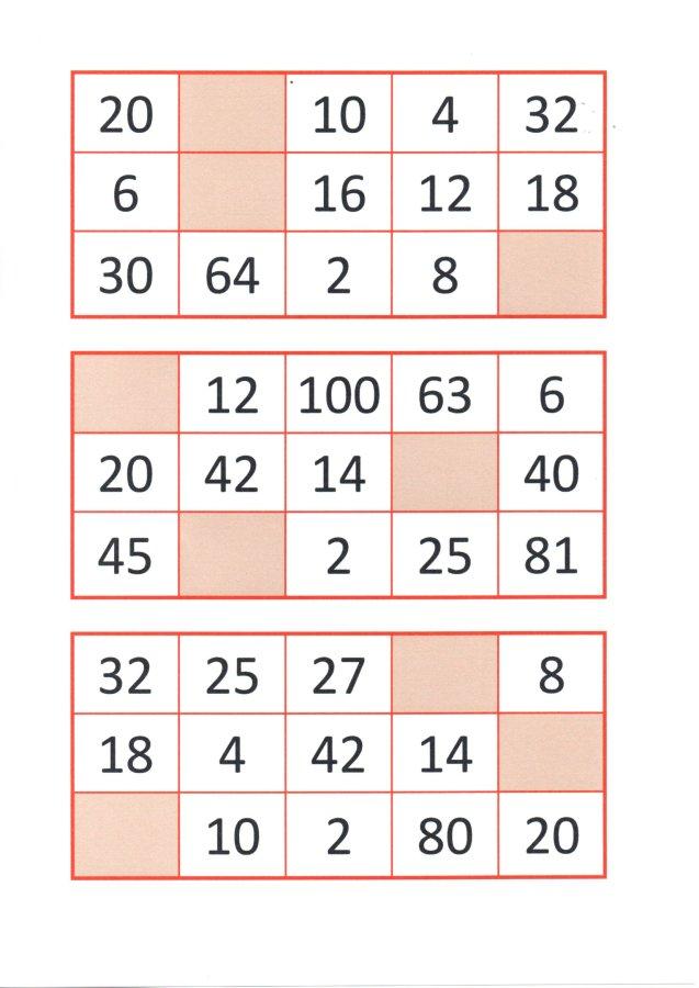 Bingo da Multiplicação-Cartelas e papéis para sorteio-Folha 8