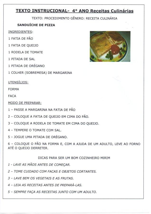 Texto instrucional Receitas Culinárias-Pizza-Parte 1-folha 1