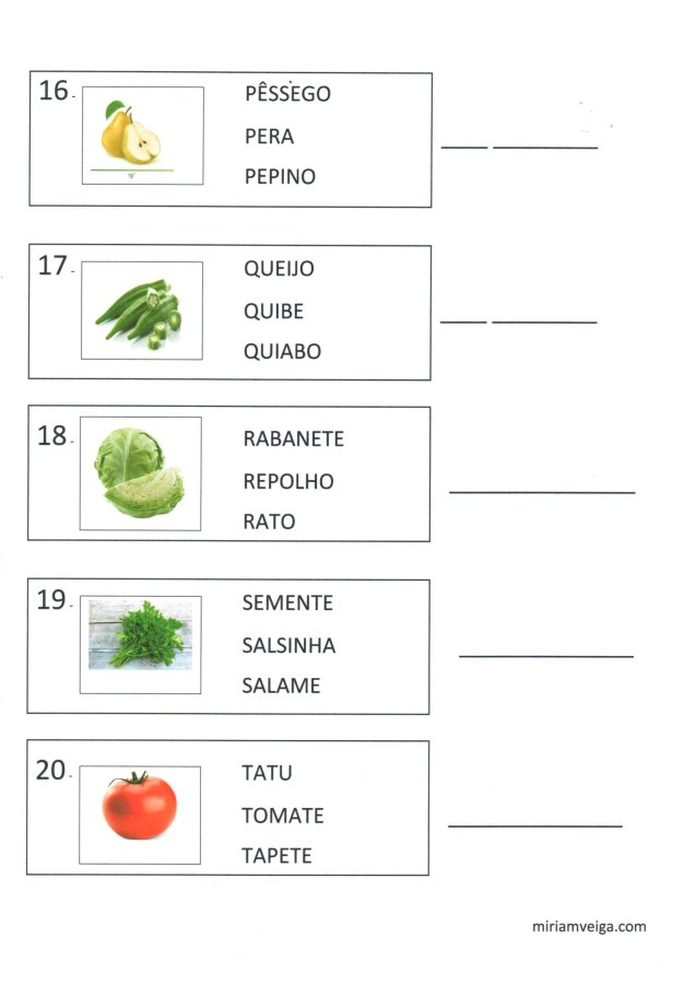 Frutas e verduras-Atividade de leitura-Parte 4-Folha 4