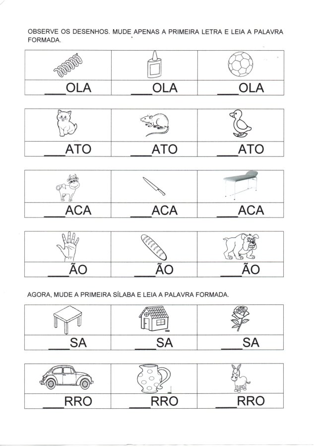 Figuras e sílabas para completar a letra inicial