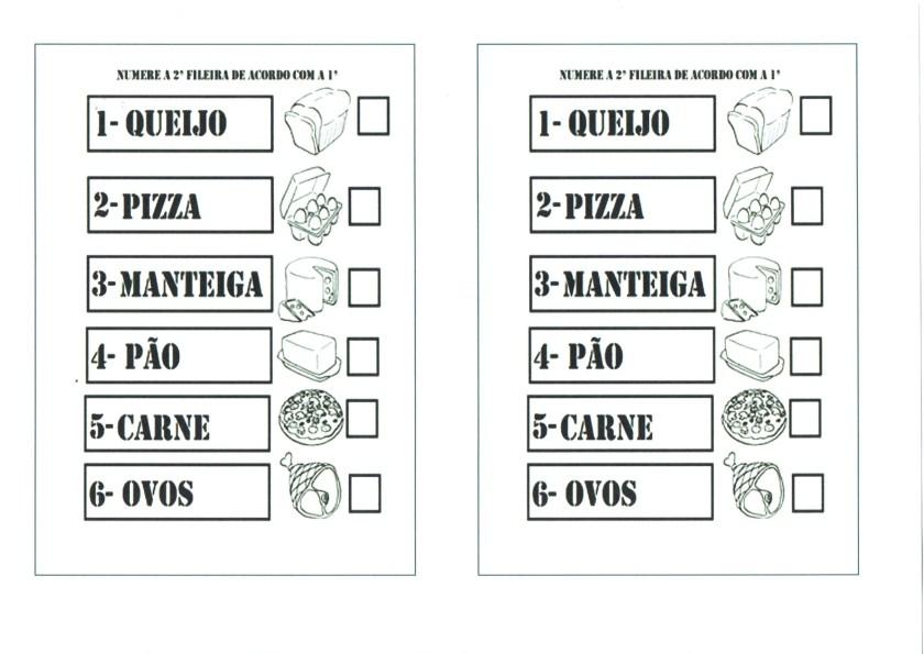 Leitura da palavra com desenho de alimentos