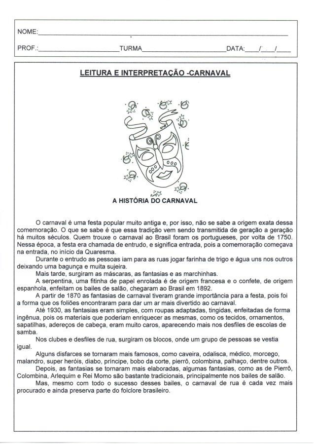 Leitura e interpretação-Carnaval 1