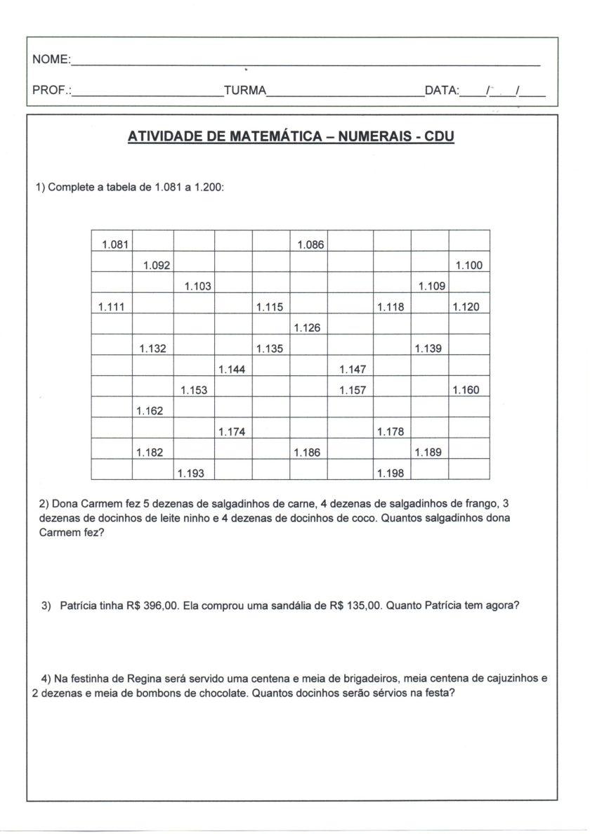 Atividade de matemática-Numerais-CDU