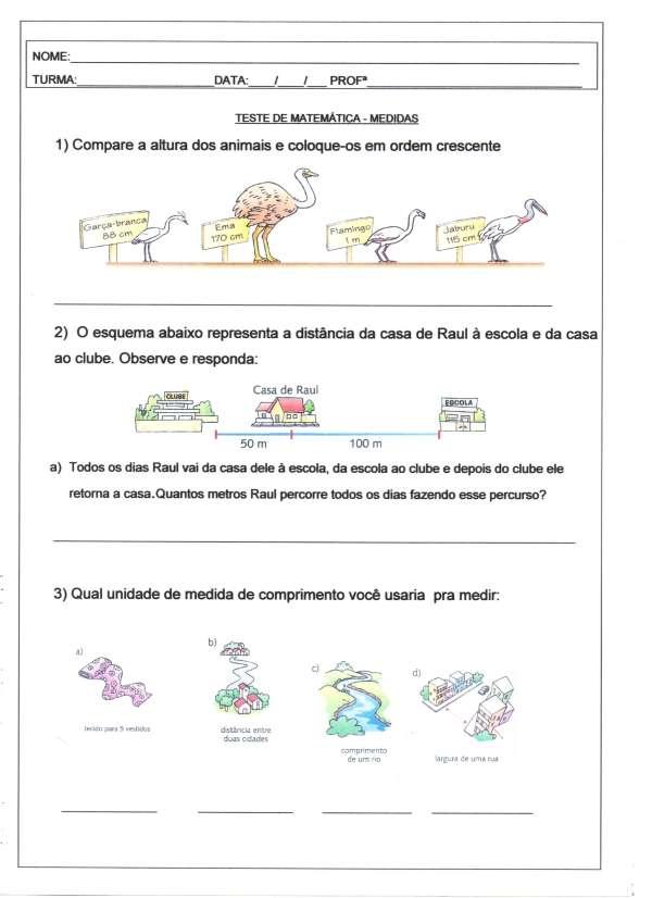Teste de Matemática-Medidas-Parte 1-Folha 1