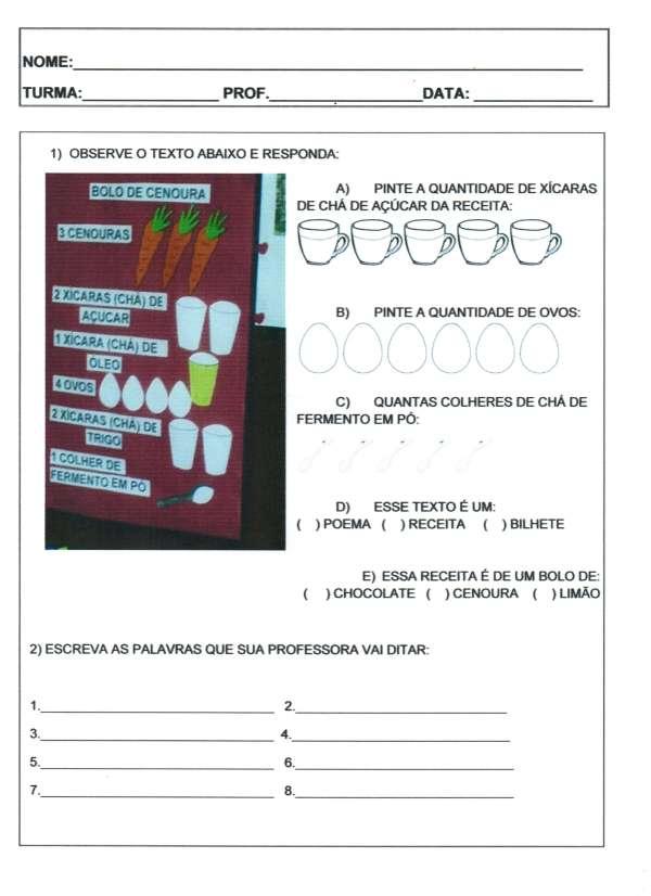 Avaliação 1 ano-Português Receita Bilhete Cantiga-Folha 1