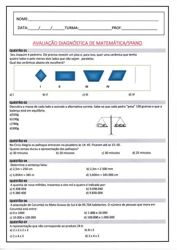 Avaliação Diagnóstica 5 Ano-Matemática-Parte 1-Folha 1