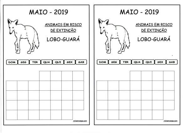Calendário 2019 Maio-Aluno